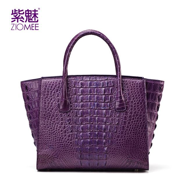 ZIOMEE women 100% crocodile handmade trapeze tote hand bag ladies alligator genuine leather cowhide lining evening party handbag
