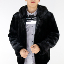 Mink coat male models in the long section hooded mink fur coat whole mink fur coat winter jacket men