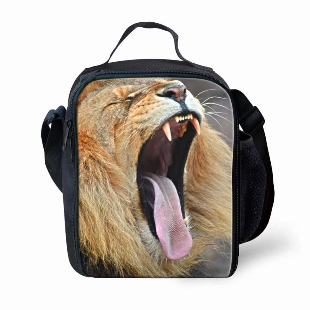 FORUDESIGNS Термосумка для пищи 3D голова льва сумки для пикника для женщин Тигр обезьяна животные термоохладитель сумки для детей Ланчбокс