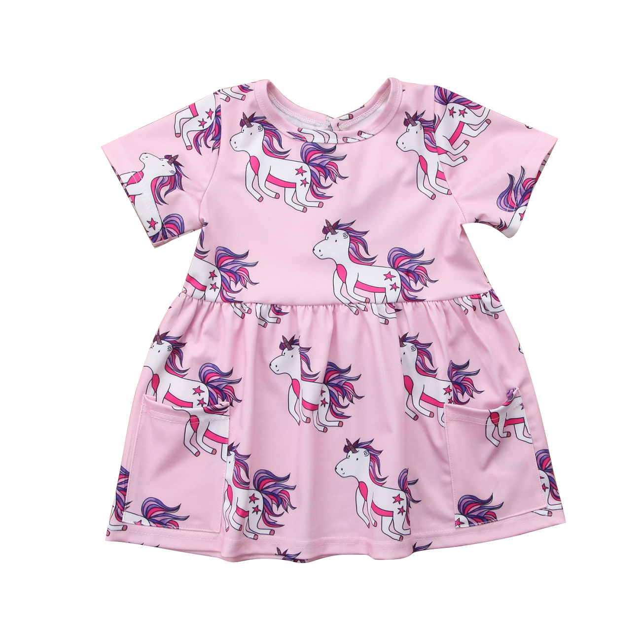 Summer new cute unicorn print dress Baby Girls Kids Toddler kid girl Casual lovely short sleeve Dresses Outfit Clothes 0-4T