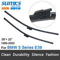 """Wiper blades for BMW 5 Series E39 Saloon (1995-2003) / Touring (1997-2004) 26""""+22"""" fit slide latch wiper arms only HY-E39"""