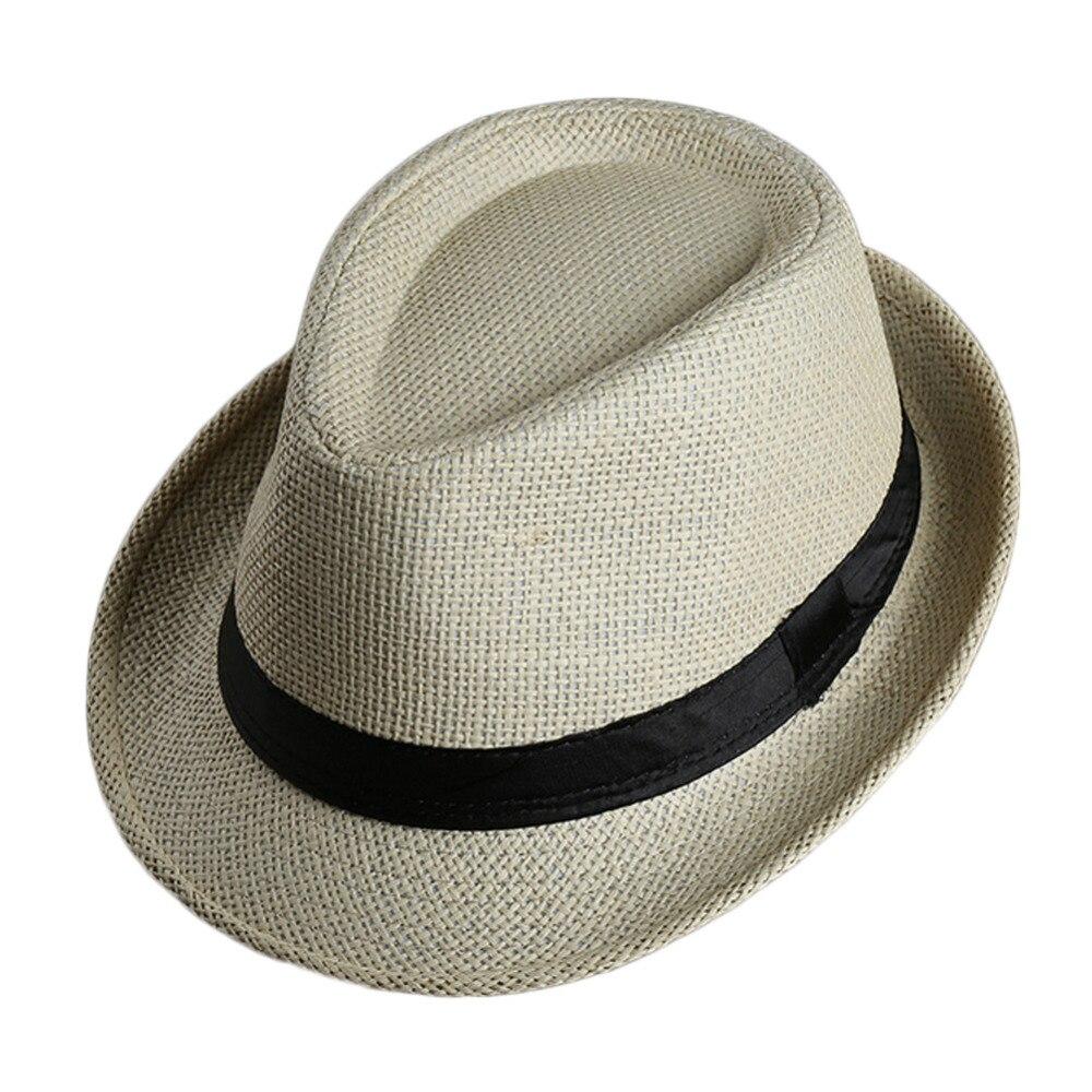 a6af15f494eb0 Moda Feminina chapéu de Palha Fedora Aba Larga fita Preta patchwork Cap  Trilby Panamá Mulheres Lady Summer Beach Chapéu de Sol em Chapéus de sol de  ...