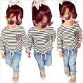 TZ352, Spring / Autumn New Navy long-sleeved pullover striped clothes Kids Clothes 2-8Y Girls long sleeve children clothing 2017