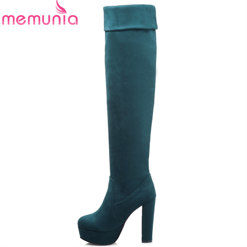 ФОТО fashion 2017 new women's boots three ways wear over the knee boots round toe thick high heels black platform shoes
