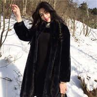 2018 nouveau hiver imitation fourrure manteau longue section vison fourrure Mandarin col slim fausse fourrure manteau