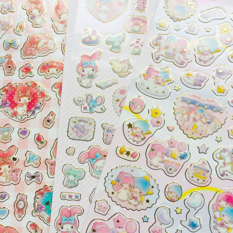 1 Sheet Kawaii Melody Twin Star Golden Foil DIY Decorative Stickers Sealing Paste Stick Label School Office Supply image