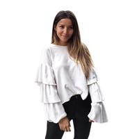 2017 Women White Autumn Blouse O Neck Fare Sleeve Loose Elegant Cotton Casual Blouse Blusas Manga Larga Vetement Femme