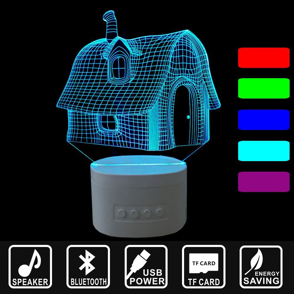 3D lights Bluetooth speakers music LED night lights home lighting TF card USB rechargeable Desktop Lamp house shape IY803571