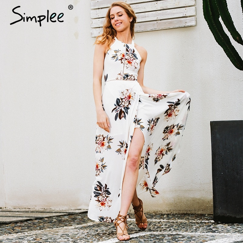 f184246668760 Simplee Floral print halter chiffon long dress Women white split ...