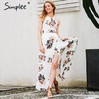Simplee Floral Print Halter Chiffon Long Dress Women White Split Beach Summer Dress Sexy Backless Maxi