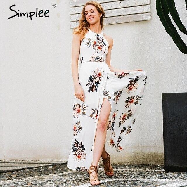 98b08d9e4 Simplee الأزهار طباعة الرسن الشيفون فستان طويل المرأة الأبيض انقسام الشاطئ  فستان صيفي مثير عارية الذراعين