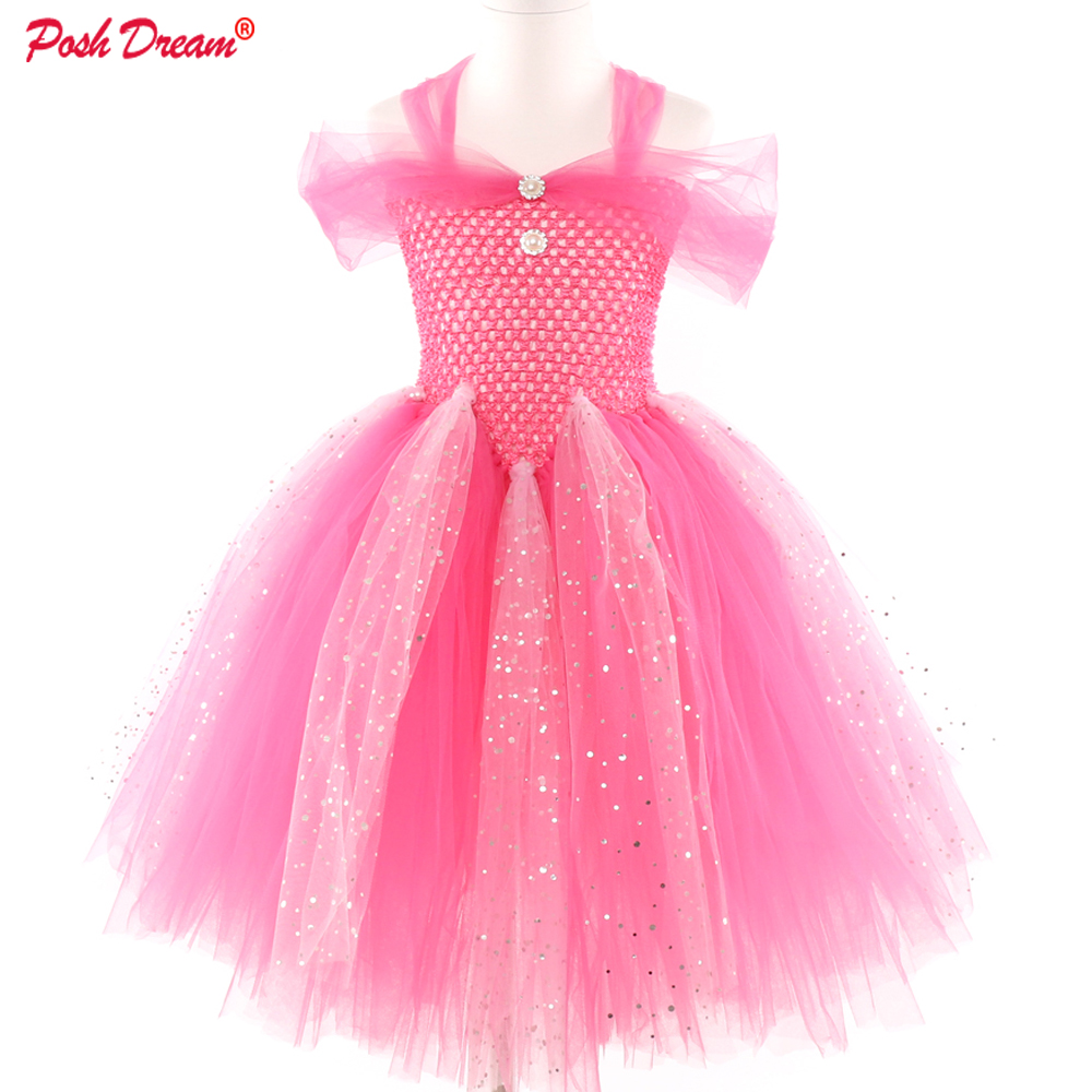 POSH DREAM Princess Flower Girl Dress Summer Tutu Wedding Birthday Party Kids Dresses Girls Children's Costume Teenager Prom