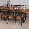 Дешевые американский кантри ретро деревянная мебель, Кованого железа столик в ресторане семейный ужин стол обеденный уголок сочетание santa Fe