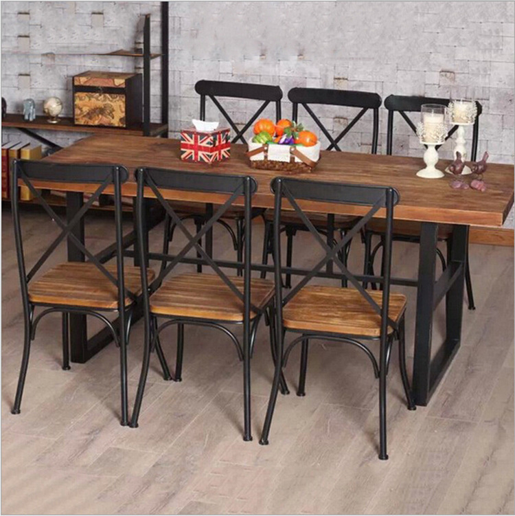 Cheap American country retro wood furniture, wrought iron table in the restaurant the family dinner table dinette combination Fe