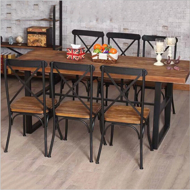 Cheap American Country Retro Wood Furniture Wrought Iron Table In The Restaurant Family Dinner