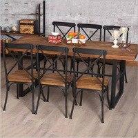 Goedkope Amerikaanse land retro houten meubels, Smeedijzeren tafel in de restaurant de familie diner tafel dinette combinatie Fe