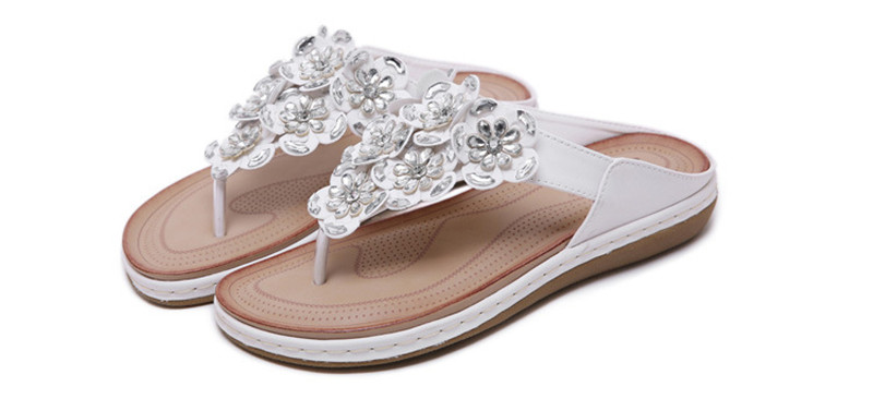 New 2019 ethnic women`s sandals cross-border bohemian rhinestones large size comfortable flat shoes beach shoes (11)