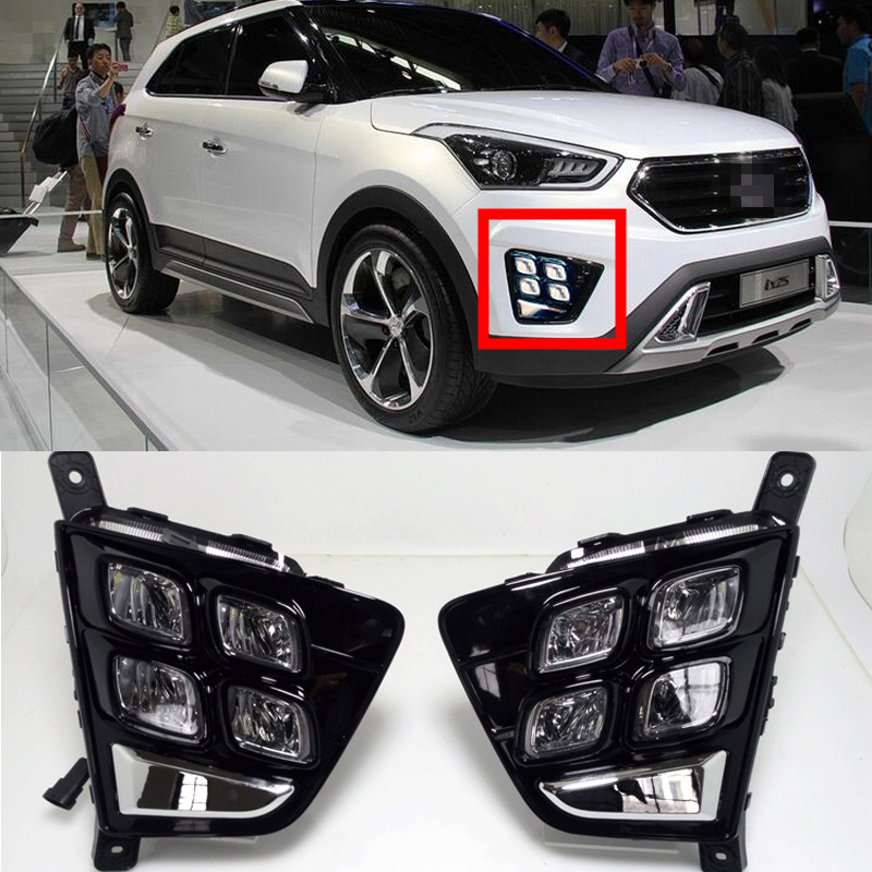 1 Set 12V LED Daytime Running Light Car Accessories Waterproof ABS DRL Fog Lamp Decoration For Hyundai Creta IX25 2014 2015 2016 2pcs car led drl daytime running light for hyundai ix45 2013 2014 2015 fog light drl fog lamp 12 led 1pair lot