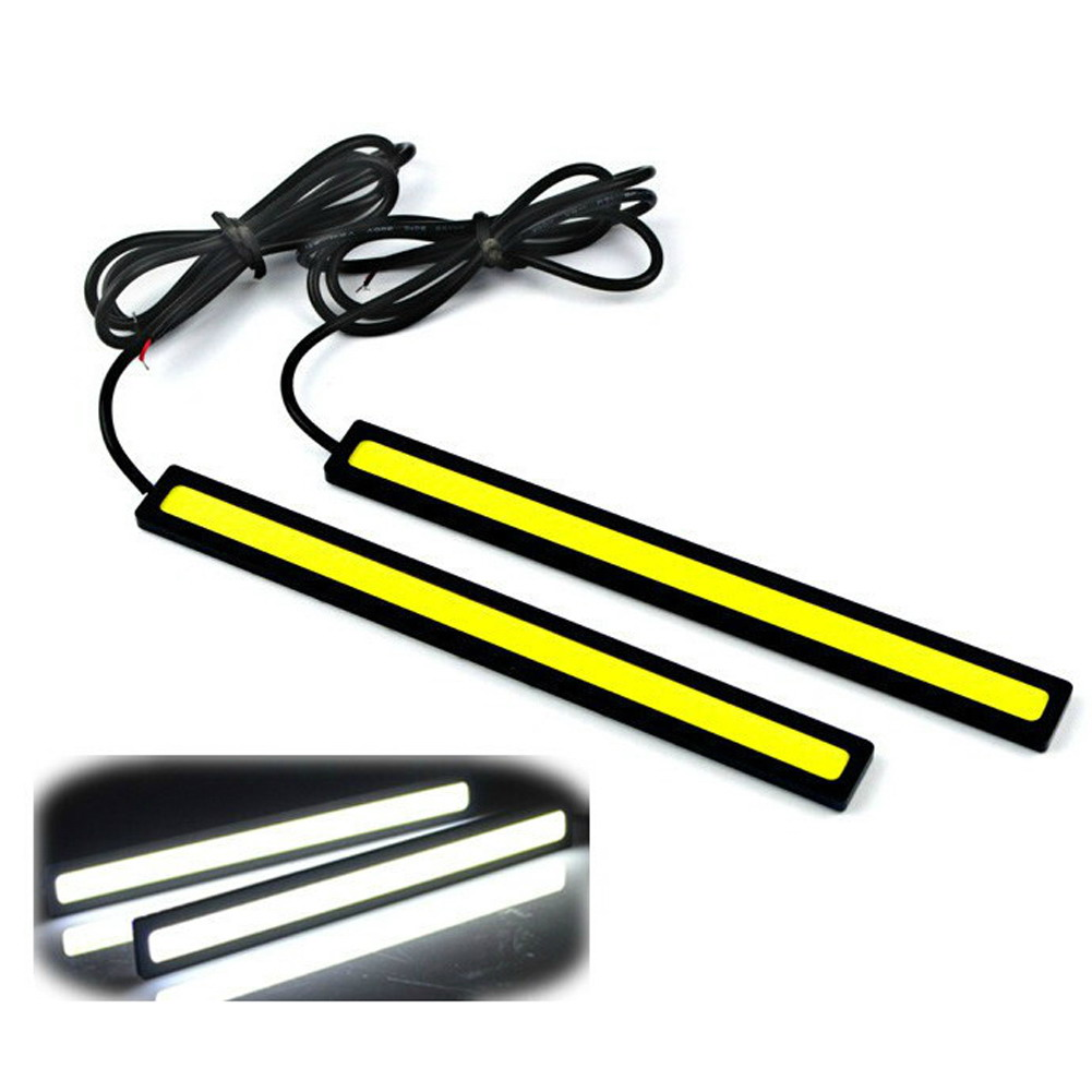 2Pcs 17cm LED COB Car DRL Auto Daytime Running Light Strip Waterproof 12V Automobile Light-emitting Diode Fog Lamp Bar Accessory 2pcs set new design drl led daytime running lamp auto cob light 100% waterproof car accessories free shipping
