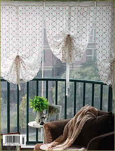 Drawstring Country Living Flower Embroidery Curtains, Cafe Curtain For  Window Or Door ,