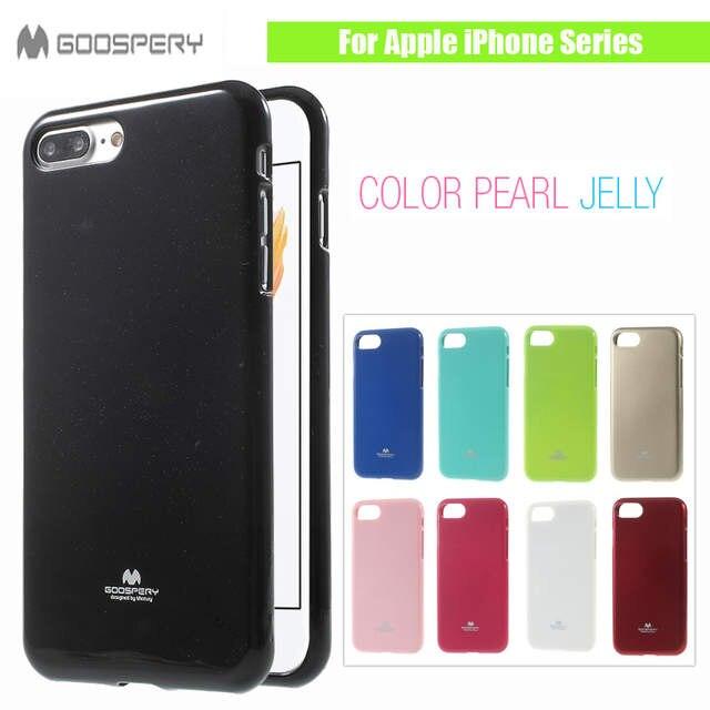 7eab439fcd2d Online Shop Original MERCURY GOOSPERY for Apple iPhone 7 7Plus 6 6s 5 5s Se  4 4S 5C Plus X Flash Powder Jelly Gel Soft TPU Black Phone Case