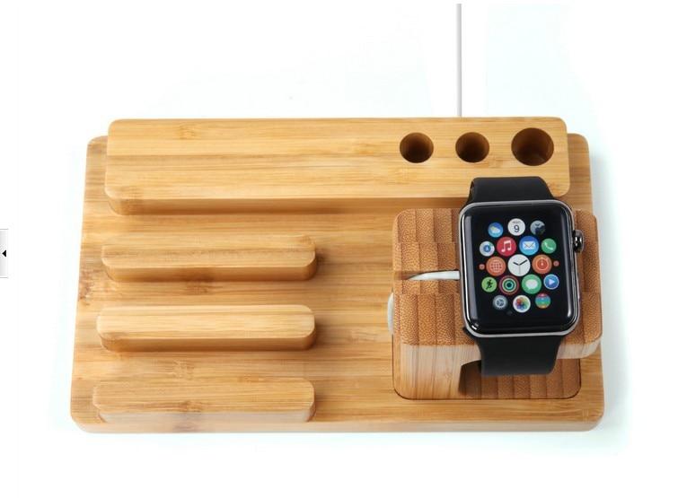 LYBALL Naturalne drewno Stojak biurkowy Bambusowy drewniany uchwyt - Części i akcesoria do telefonów komórkowych i smartfonów - Zdjęcie 6