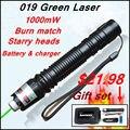 [RedStar] 019 Лазерная Подарок комплект высокой мощности 1 Вт зеленая лазерная указка звездное изображение свет матч включают 18650 аккумулятор и зарядное устройство
