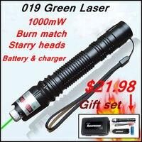 [RedStar] 019 Laser Cadeau ensemble haute puissance 1 W laser vert pointeur étoilé image lumière match comprennent 18650 batterie et chargeur