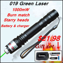 Cheapest prices [RedStar]019 Laser Gift set high power 1W green laser pointer starry image light match  include 18650 battery and charger