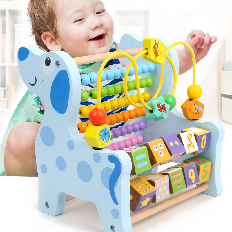 Wooden Montessori Math Toys Multifunction Abacus Toys Around Beads Early Learn Teaching Aids Educational Toys For Children Gift(China)