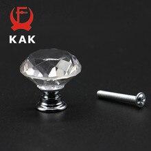 KAK 20 40mm Diamond Shape Design Crystal Glass Knobs Cupboard Drawer Pull  Kitchen Cabinet Door