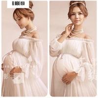 2016 Royal Style White Maternity Lace Dress Pregnant Photography Props Pregnancy Maternity Photo Shoot Long Dress