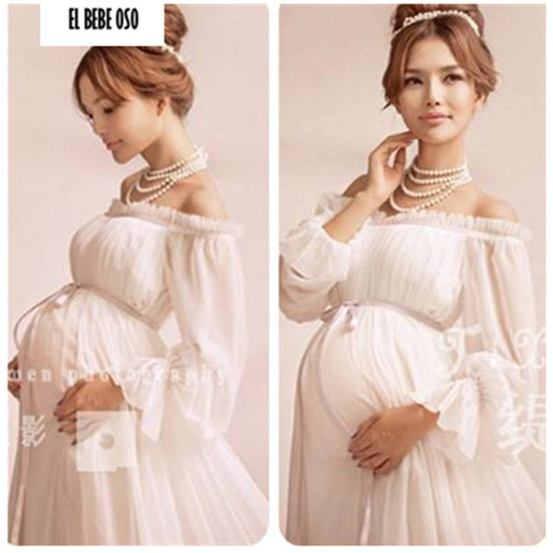 Hot Style Chiffon White Long Pregnancy Dresses Pregnant Photography Props Long Sleeve Maxi Dress Maternity Photo Shoot Gown
