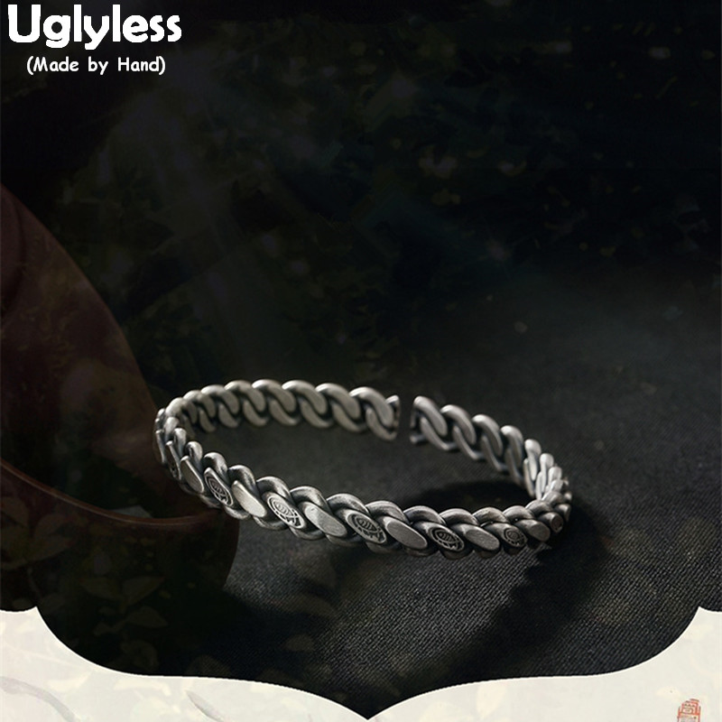 Uglyless Real S999 Silver Fine Jewelry Special Weaved Twist Women Bangles Cool Designer Chains Bangle Engraved Totem Fish Bijoux geometric sun totem engraved jewelry set