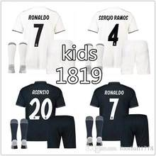 fbf7ce3ab Hot sale 2018 2019 Top Best Qualit Short Realed Madrided kids kit Soccer  jersey 18 19 Home Away 3RD Boys kit Shirt Free shipping