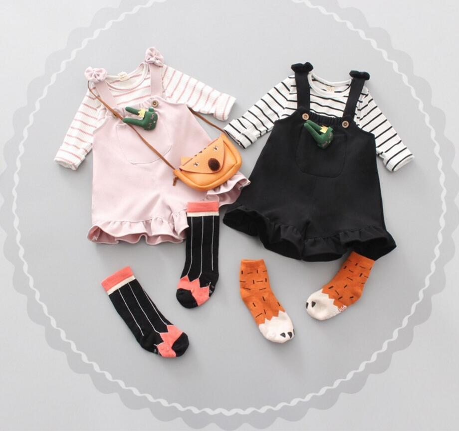 2017 Baby Girl Clothes 2pcs Clothing Sets Striped T-Shirt +Suspender Trousers Newborn Cotton Clothes Sets HW1066