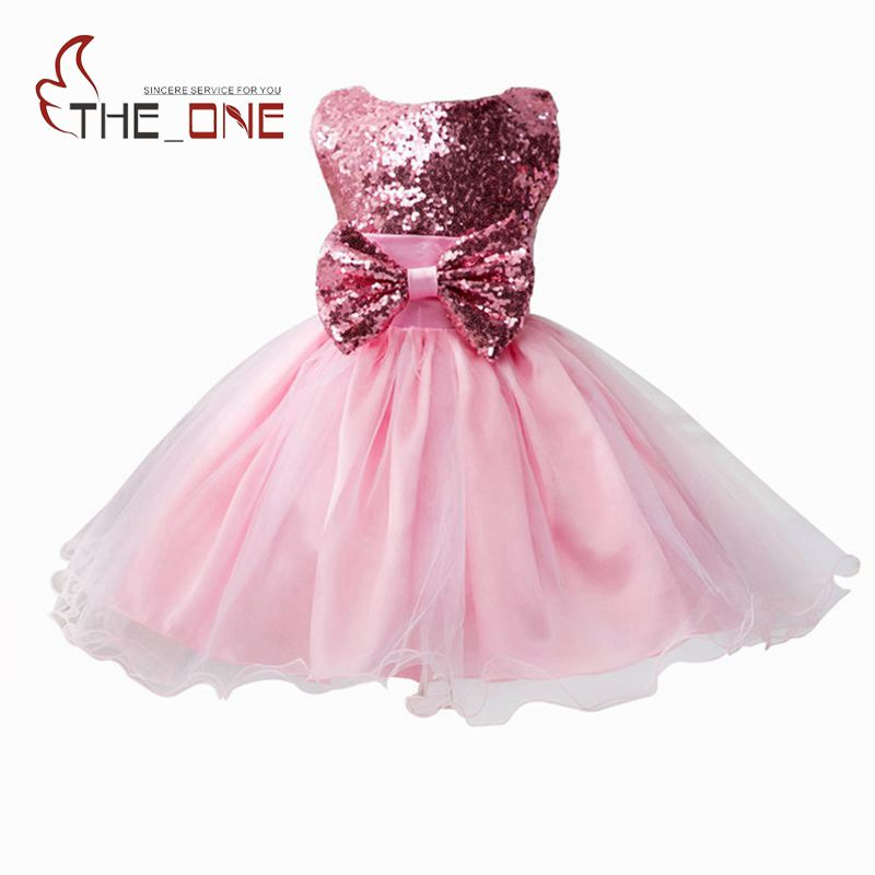 Girls Princess Party Bow Tutu Lace Dress Girl Summer Wedding Dress Children Sequined Evening Dresses Baby Kids Clothing T144  summer baby girls party vest dress linen cotton ruffle tutu dress for girl kids 1st birthday princess dresses children clothing