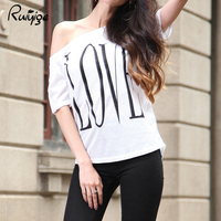RUIYIGE 2017 Summer Women Lady Girl Casual Loose Oblique T Shirt Tops Cotton Letters Printed S