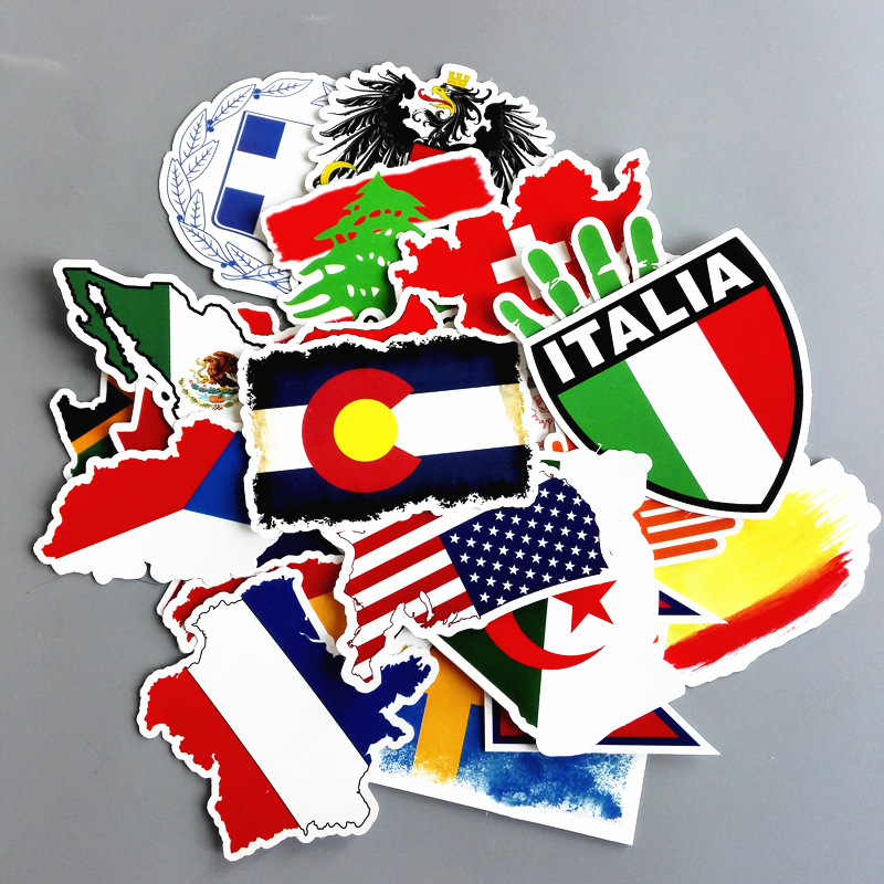 27 Pcs Funny Stickers On Motorcycle Suitcase Home Decor Phone Laptop Covers DIY Flag Of Different Countries Sticker XL025