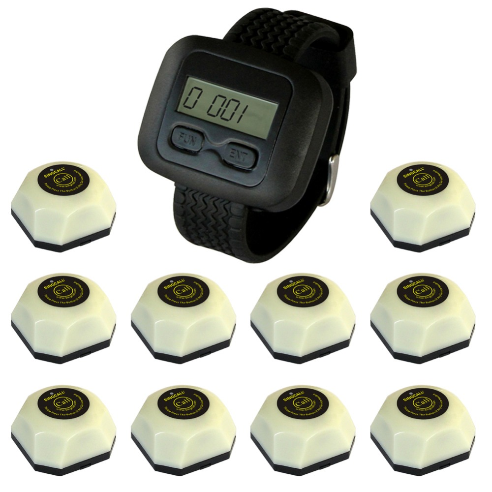 SINGCALL wireless waiter service paging system,servicing customer,10 pcs white call bell and one watch for waiter bitchy waiter