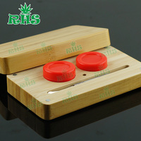 14ml Bamboo Container Set With Dabbing Tool Food Grade Silicone Wax Container for Weed Concentrates 1set