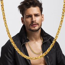 2019 High quality Byzantine Box Statement Men Gold Silver 4MM Stainless Steel Choker Necklace Chain
