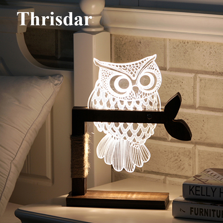 Thrisdar Dimmable Acrylic 3D Owl LED Night Light 3D Vision Stereo Bedroom Bedside Table Lamps Best Christmas Birthday Gift wooden modern led 3d table lamps creative personality bedroom bedside night light lampe deco birthday gift elk