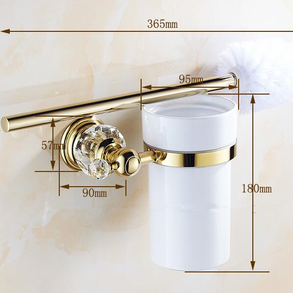 Luxury Golden crystal  toilet brush holder with Ceramic cup/ household products bath brush decoration bathroom accessories