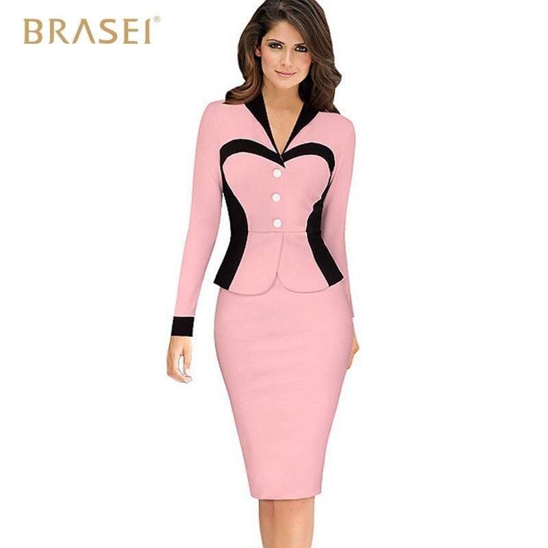 BRASEI 2016 Women 2 Fake Picecs Office Dress Vestidos De Fiesta Ladies Pink  Bodycon Casual Pencil Womens Dresses Work Wear-in Dresses from Women s  Clothing ... b88dde4210fe
