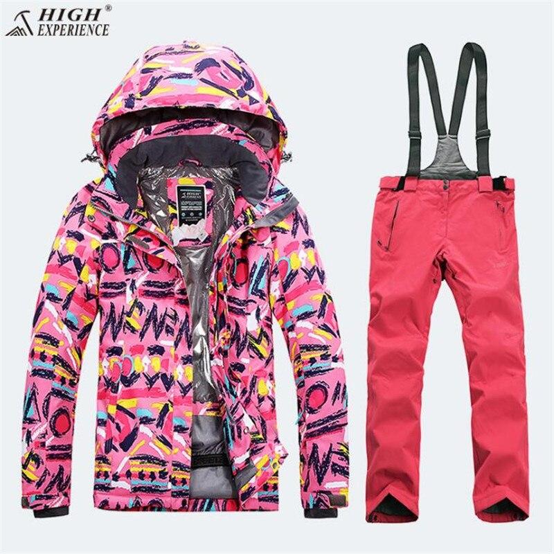 High Experience  New Designer Women's Ski Clothing Suit Ski Jacket + Ski Pant Snowboarding Set Outdoor Clothing For Women