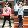 kids boys t shirt baby autumn spring striped stars printed long sleeve one neck t-shirt children sweatshirt children clothing