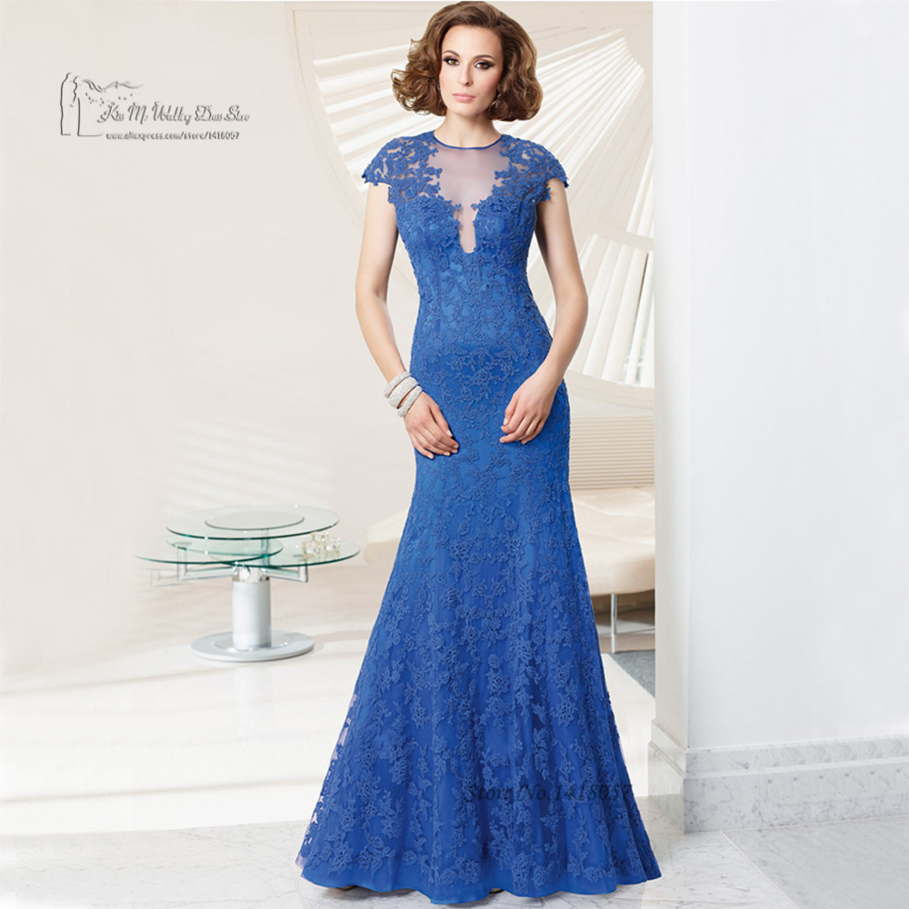 2016 Lace Mermaid Mother Of The Bride Dresses Groom: Vintage Blue Mermaid Groom Mother Of The Bride Lace