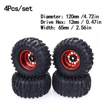 4PCS 2.2 Inch 120mm/128mm Rubber Tyres & Metal Beadlock Wheel Rim for 1:10 RC Rock Crawler Axial SCX10 RR10 Wraith Yeti Car