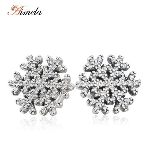 2016 Christmas Vintage Crystal Snowflake Stud Earrings For Women European Winter 925-Sterling-Silver Brincos Fine Jewelry EAR037